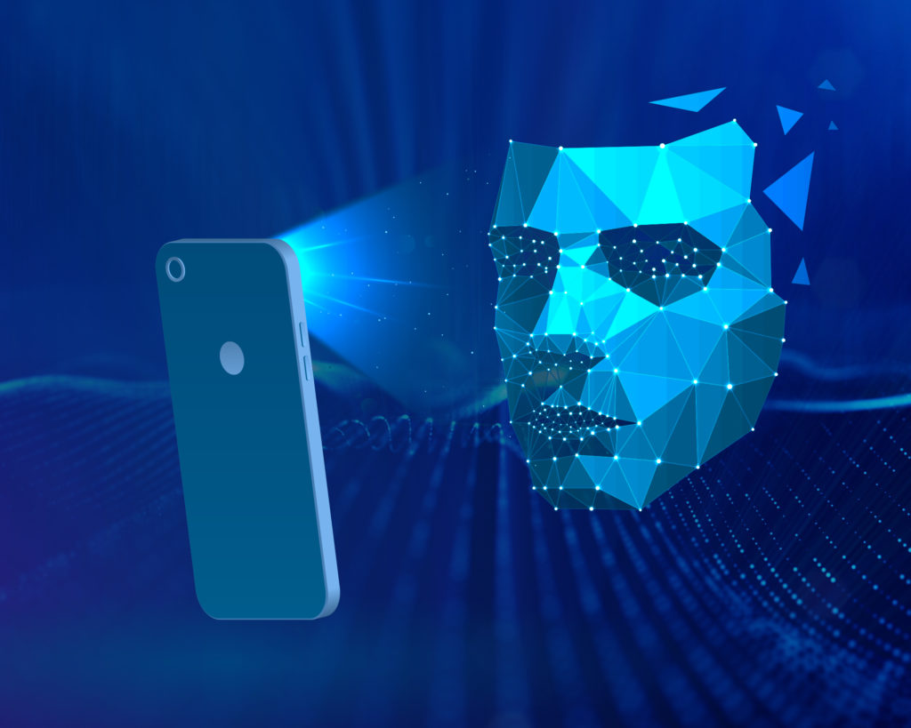 Animated graphic showing facial recognition via smartphone