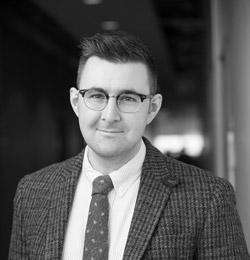 Black and white portrait of Fenwick McKelvey