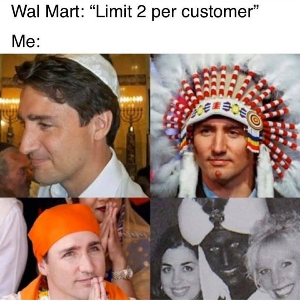 Four-panel meme showing four different photos of Justin Trudeau, including one in blackface