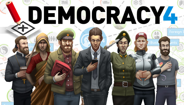 "Image of characters in the game ""Democracy 4"""